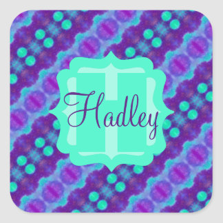 Watercolor Pattern II with Custom Text Square Sticker