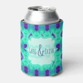 Watercolor Pattern IIII with Custom Text Can Cooler