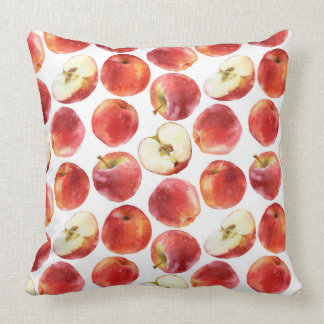 Watercolor pattern with red apples pillow throw cushion