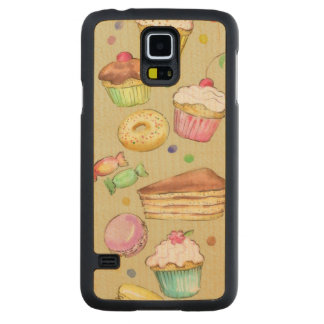 Watercolor pattern with sweets maple galaxy s5 slim case