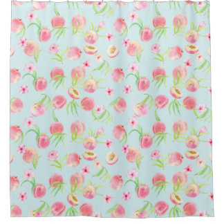 Watercolor Peach and Flower Pattern Shower Curtain