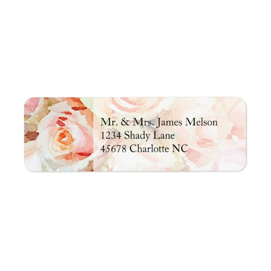 Watercolor Peach Pastel Rose Return Address