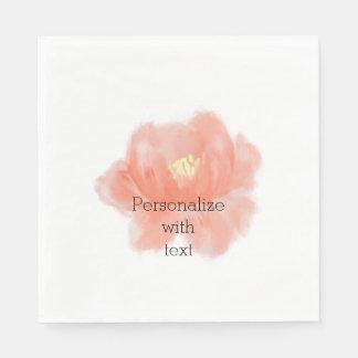 Watercolor Peach Rose Disposable Serviette