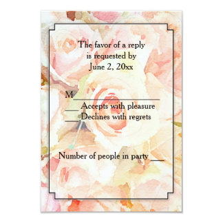 Watercolor Peach Roses RSVP 9 Cm X 13 Cm Invitation Card