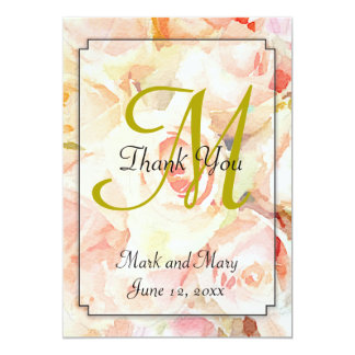 Watercolor Peach Roses Thank You Note 13 Cm X 18 Cm Invitation Card