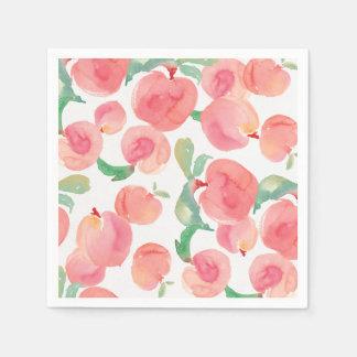 Watercolor Peaches Disposable Serviette