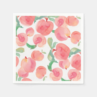 Watercolor Peaches Paper Napkins