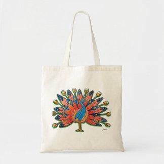Watercolor Peacock Budget Tote Bag