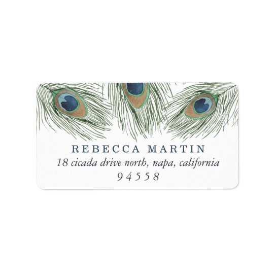 Watercolor Peacock Feathers Return Address Label