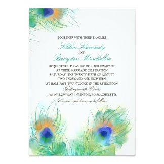 Watercolor Peacock Feathers Wedding Card