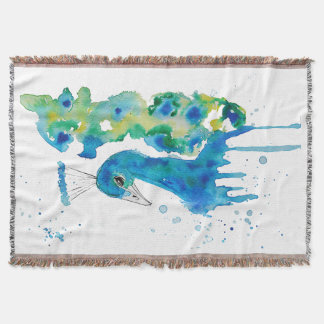 Watercolor Peacock Throw Blanket