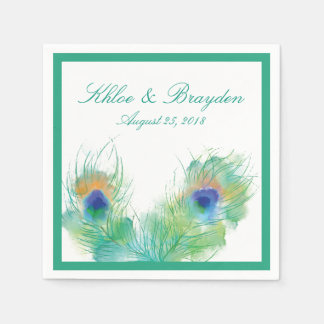 Watercolor Peacock | Wedding Paper Napkins