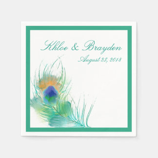Watercolor Peacock | Wedding Disposable Napkins