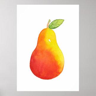 Watercolor Pear Poster