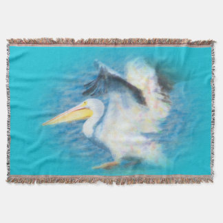 watercolor pelican blanket