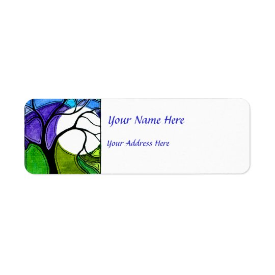 Watercolor Pen and Ink Tree Return Address Label
