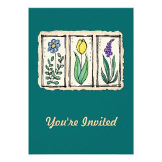 Watercolor Pen & Ink Sketch Flowers Cards