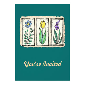 "Watercolor Pen & Ink Sketch Flowers 5"" X 7"" Invitation Card"