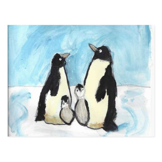 Watercolor penguin kids art postcard
