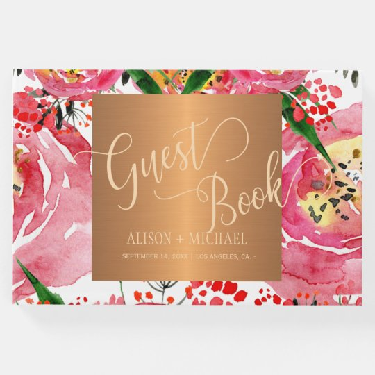 Watercolor peonies floral chic monogram wedding guest book