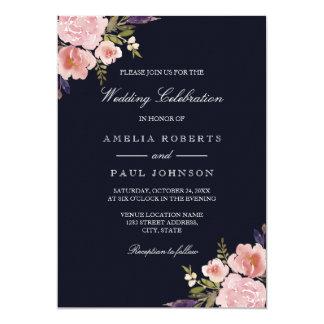 Watercolor Peonies Pink Navy Wedding Invitation