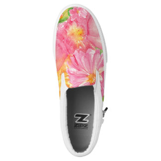 Watercolor Peonies Printed Shoes
