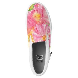 Watercolor Peonies Slip On Shoes