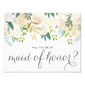 Watercolor Peonies Will You Be My Maid of Honor Card