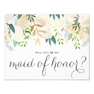Watercolor Peonies Will You Be My Maid of Honour Invitation