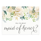 Watercolor Peonies Will You Be My Maid of Honour Postcard
