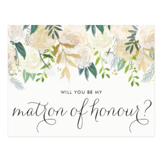 Watercolor Peonies Will You Be My Matron of Honour Postcard
