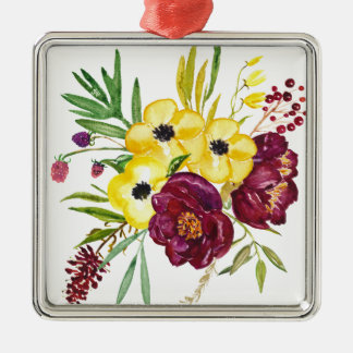 Watercolor Peony Bouquet Christmas Ornament