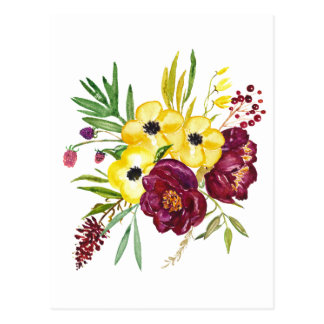 Watercolor Peony Bouquet Postcard