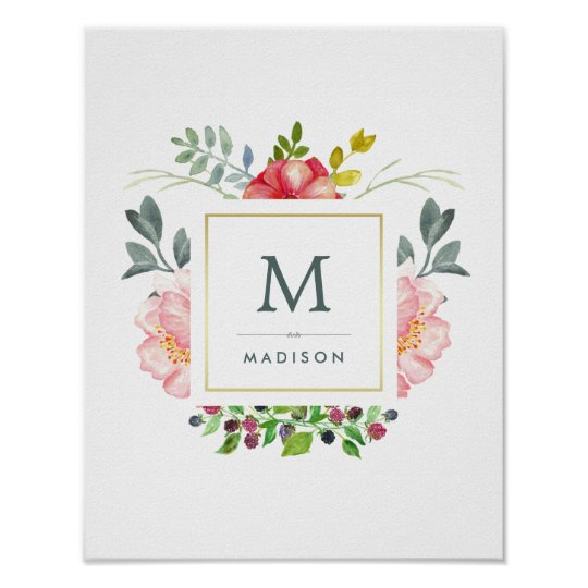 Watercolor Peony Flowers with Gold and Monogram Poster