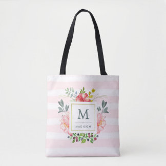 Watercolor Peony Flowers with Monogram and Stripes Tote Bag