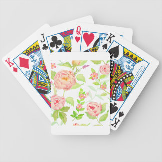 Watercolor peony pattern bicycle playing cards