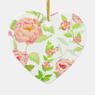 Watercolor peony pattern ceramic heart decoration