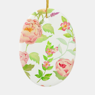 Watercolor peony pattern christmas ornament