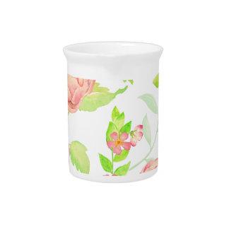 Watercolor peony pattern pitcher