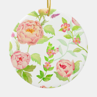 Watercolor peony pattern round ceramic decoration
