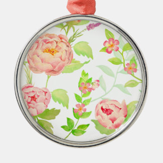 Watercolor peony pattern Silver-Colored round decoration