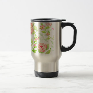 Watercolor peony pattern travel mug