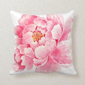 watercolor peony pinks botanical cushion pillow