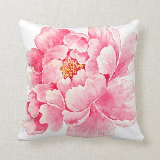watercolor peony pinks botanical cushion pillow