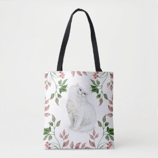Watercolor Persian Kitten Pink Green Leaves  | Tote Bag
