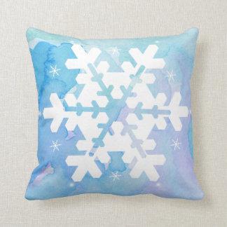 Watercolor Pillow: Frozen Snowflake Cushion