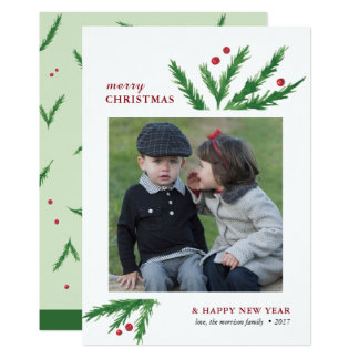 Watercolor Pine Branches | 2017 Holiday Card