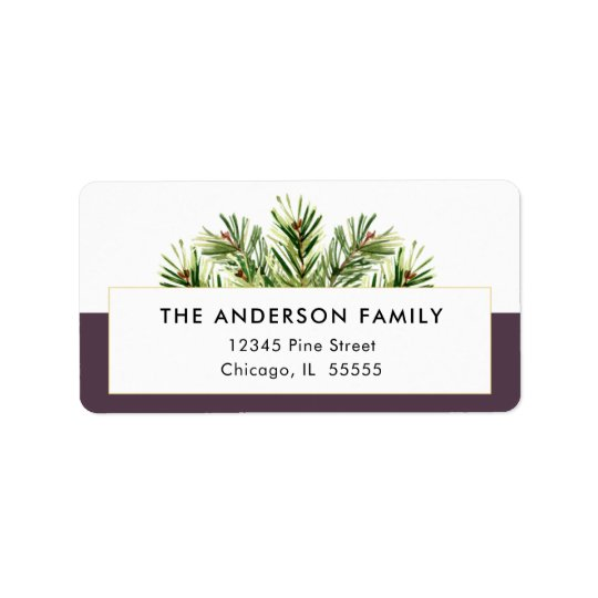 Watercolor Pine Branches Christmas Return Address Label