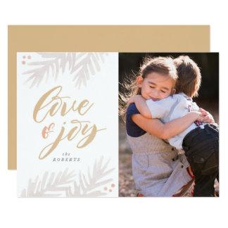 Watercolor Pine Brush Love and Joy Holiday Card