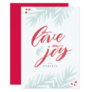 Watercolor Pine Brush Love and Joy Holiday Card 13 Cm X 18 Cm Invitation Card